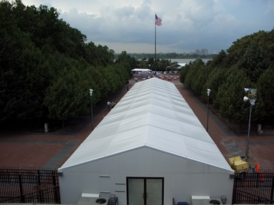 Screening tent at Statue of Liberty